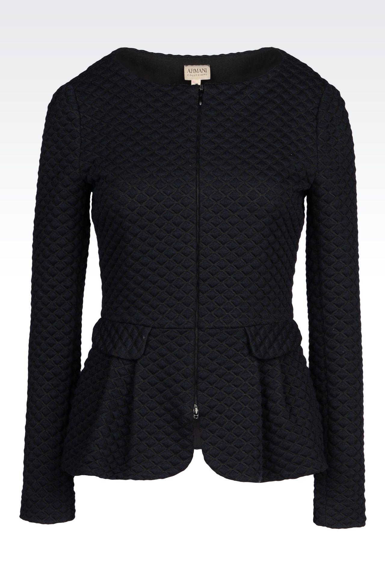 JACKET IN MATELASSÉ JERSEY: Dinner jackets Women by Armani - 0