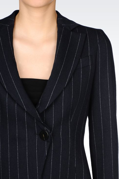 PINSTRIPE JACKET: One button jackets Women by Armani - 4