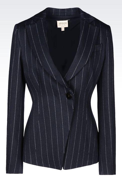 PINSTRIPE JACKET: One button jackets Women by Armani - 1