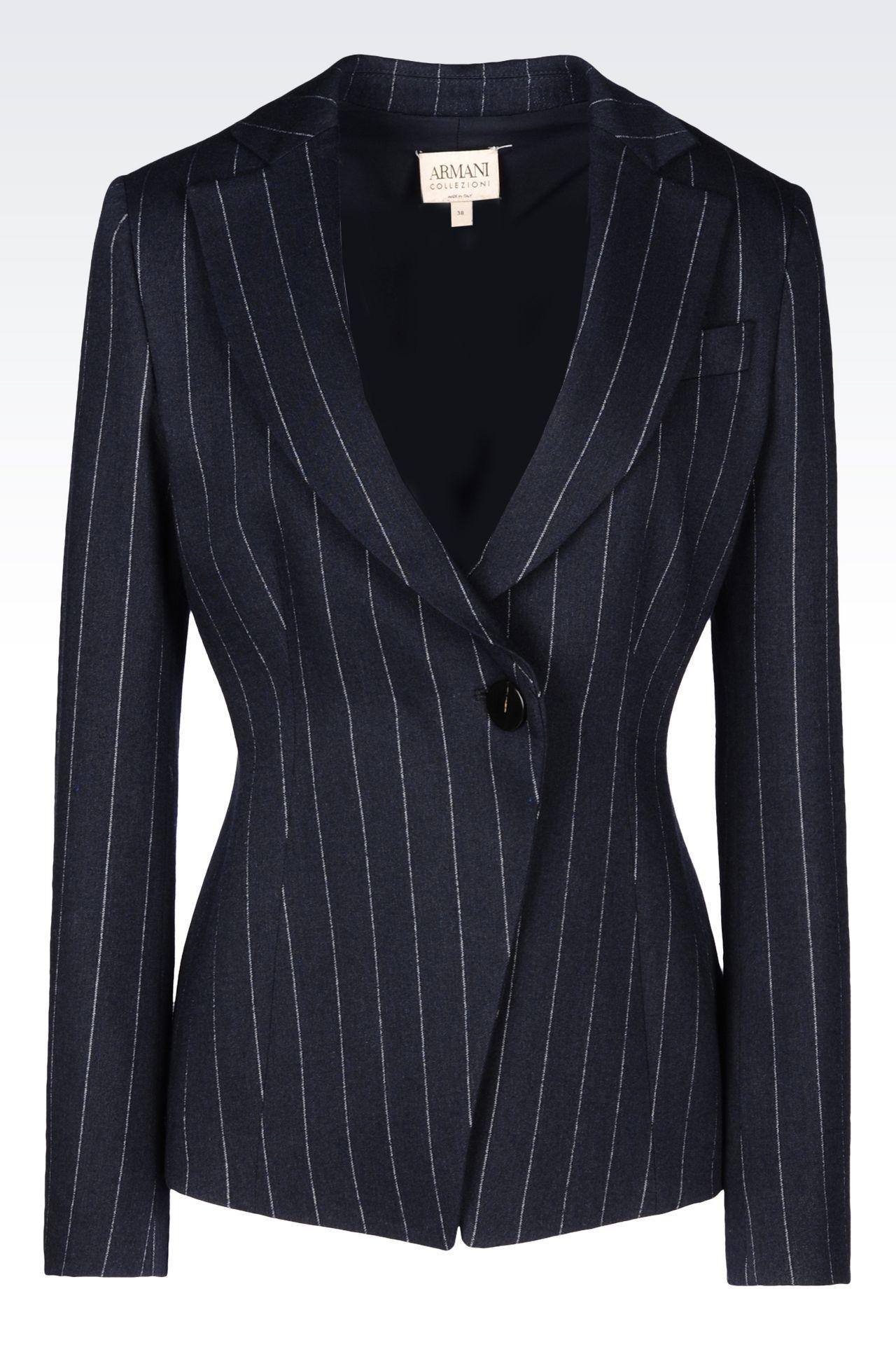 PINSTRIPE JACKET: One button jackets Women by Armani - 0