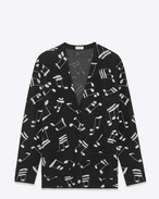Cardigan Oversized nero e argento in mohair e viscosa a motivo Musical Note intessuto
