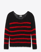 Crewneck Sweater in Black and Red Striped Virgin Wool and Mohair