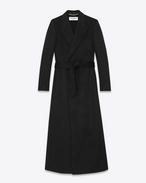 Long Double Breasted Robe Coat in Black Cashmere