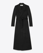 ロング ダブル ブレステッドローブコート(ブラック / カシミア)