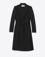 Double Breasted Robe Coat in Black Virgin Wool and Angora