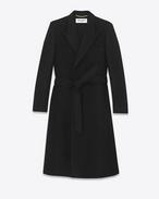 Langer Zweireiher-Mantel aus schwarzer Schurwolle und Angora