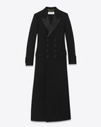 LE SMOKING Babydoll CABAN Coat in Black Virgin Wool
