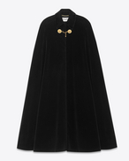 Long Cape in Black Cotton Velour