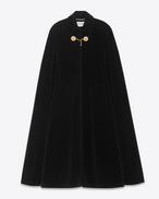 Langes Cape aus schwarzem Baumwollvelours