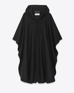 Hooded Cape in Black Felted Wool