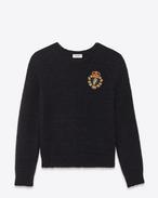 スクールガール クルーネックセーター(ブラック / ウール、アモヘア)