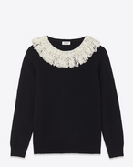 Schoolgirl Crewneck Sweater in Black Cashmere and Ivory Lace