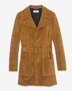 70's Short Belted Coat in Cognac Suede