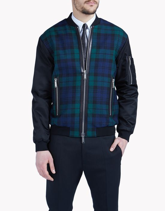 scottish check bomber coats & jackets Man Dsquared2