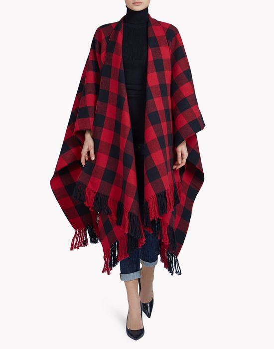 canadian check poncho mäntel & jacken Damen Dsquared2