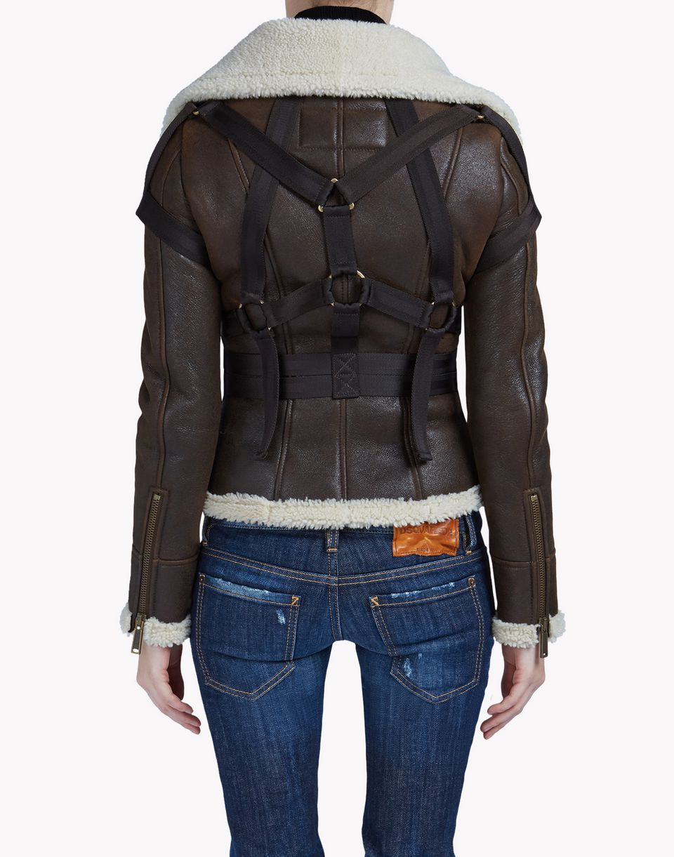 sandstorm leather kaban coats & jackets Woman Dsquared2