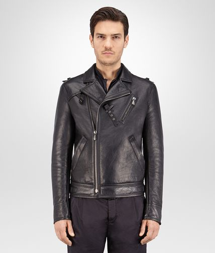 BIKER IN PELLE DARK ARDOISE