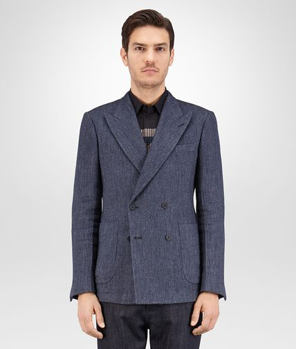 JACKET IN DARK PACIFIC WOOL LINEN