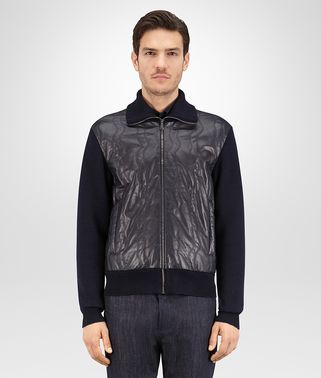 BLOUSON IN DARK NAVY LEATHER AND WOOL WITH STITCHING EMBROIDERY DETAIL