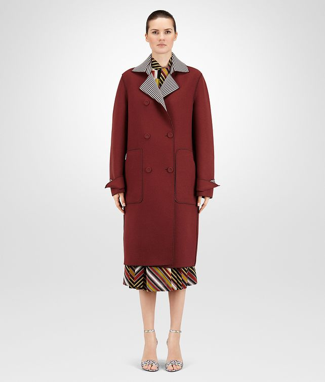 TRENCH IN BAROLO AND MIST NERO PRINTED WOOL CREPE