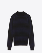 mock turtleneck sweater in navy and black striped merino wool