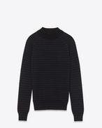 maglione a collo alto blu navy e nero in lana merino a righe