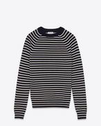 crewneck sweater in navy and white striped merino wool
