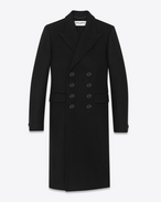 70's Caban Coat in Black Felted Virgin Wool