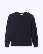Classic Crewneck Button Shoulder Sweater in Navy Blue Cotton and Wool