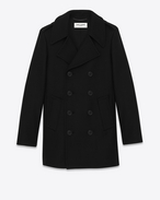 Classic CABAN TUBE Coat in Black Wool