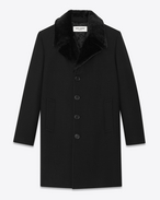 Classic Faux Fur Collar Coat in Black Virgin Wool
