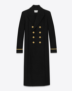 Classic 70's Military Coat in Black Wool and Nylon