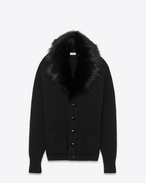 shawl neck cardigan in black wool and lamb fur
