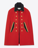 Cape caban officier en laine rouge