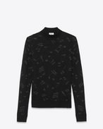 Mock Turtleneck Sweater in Black and Silver Musical Note Mohair and Viscose Jacquard