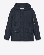 Bomber Parka in Dark Navy Blue Nylon