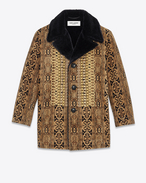 Canadian Tapestry Coat in Golden Brown Viscose, Silk and Polyester