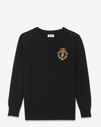 Classic Schoolboy Crewneck Sweater in Black Cotton and Wool