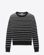 Crewneck sweater in Black and Ivory Woven Striped Virgin Wool, Mohair and Nylon