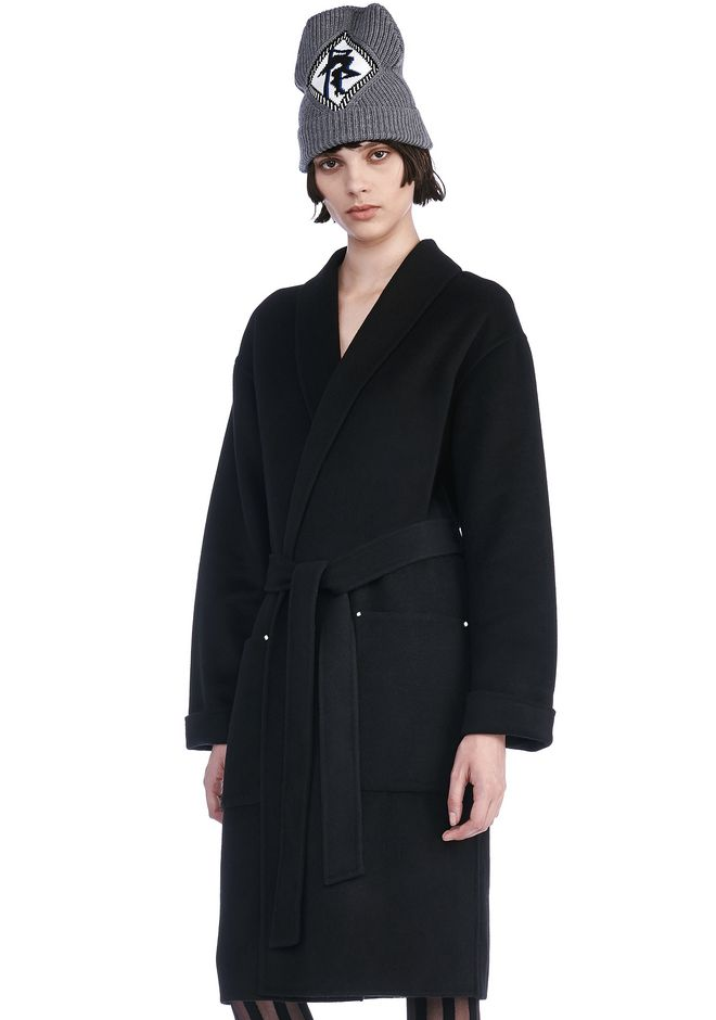 ALEXANDER WANG JACKETS AND OUTERWEAR  Women BELTED ROBE COAT WITH PATCH POCKETS