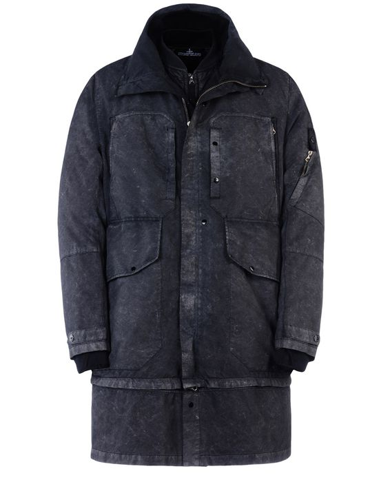 Mid-length jacket 70403 MULTI-STRATA COAT _ DAVID-TC WITH FALLOUT COLOUR TREATMENT<br>GARMENT DYED SINGLE LAYER FABRIC STONE ISLAND SHADOW PROJECT - 0