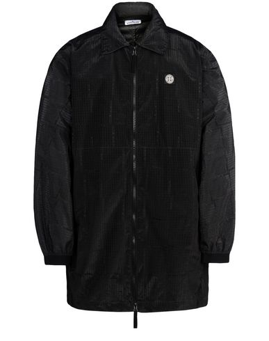 STONE ISLAND Jacket 460J4 STONE ISLAND HOUSE CHECK JACQUARD ON NYLON METAL BLACK WATRO _ PACKABLE