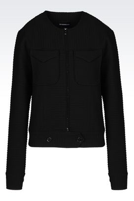 Armani Jackets Women crewneck jacket in bi-stretch fabric
