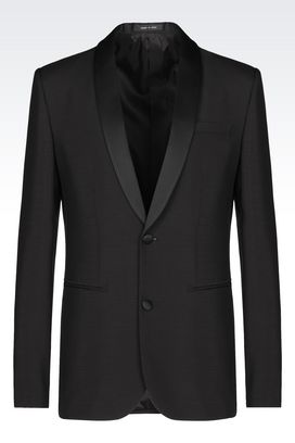 Armani Two buttons jackets Men tuxedo jacket in mohair wool