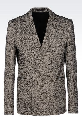 Armani Double-breasted jackets Men runway double-breasted jacket in cotton blend