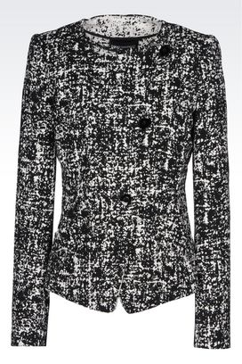 Armani Double-breasted jackets Women crew neck jacket in stretch jacquard