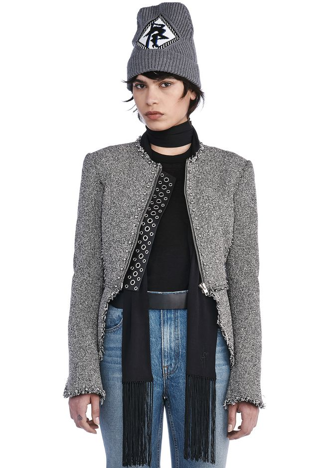 ALEXANDER WANG JACKETS AND OUTERWEAR  Women TWEED PEPLUM JACKET WITH BALL STUD DETAIL
