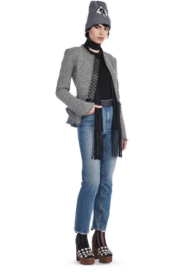 ALEXANDER WANG JACKETS AND OUTERWEAR  TWEED PEPLUM JACKET WITH BALL STUD DETAIL