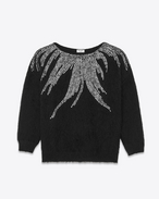 Flame Sweater in Black Virgin Wool and Nylon Mohair and Clear Crystal