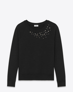 Star Studded Crewneck Sweatshirt in Black French Terrycloth and Clear Crystal
